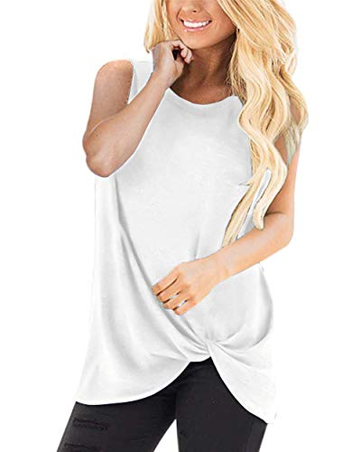 BBX Lephsnt Women's Tank Top Casual Twist Knot Tank Top Pleated Solid Color Loose Sleeveless T Shirts