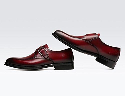Herren Lederschuhe Frühlings-männliche Geschäfts-formale Abnutzungs-Leder-Schuhe Bräutigam-Hochzeits-Schuhe Schuhe der britischen Art-Männer Herrenschuhe ( Farbe : Rot , größe : EU 41/UK7 ) Rot