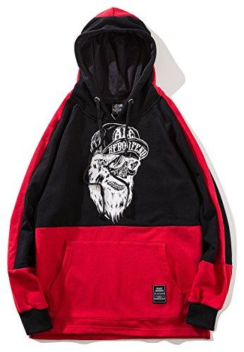 Pizoff Felpa Scirtta Al093 Con Streetwear A Unisex Cappuccio E Stampa Contrasto red dexBorCW