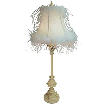 SHABBY CHIC ORNATE CREAM TABLE LAMP WITH CRYSTAL DROPLETS