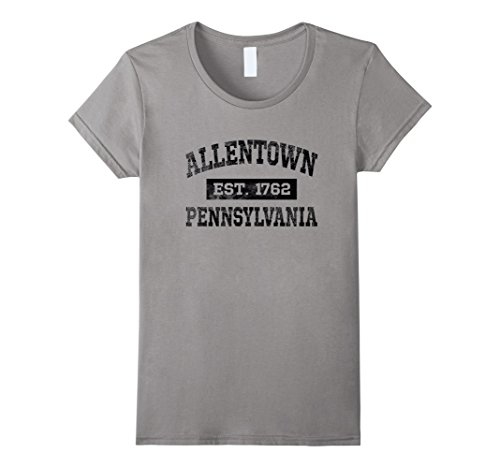 Womens Allentown Pennsylvania T Shirt Est  1762 Black Lettering Medium Slate