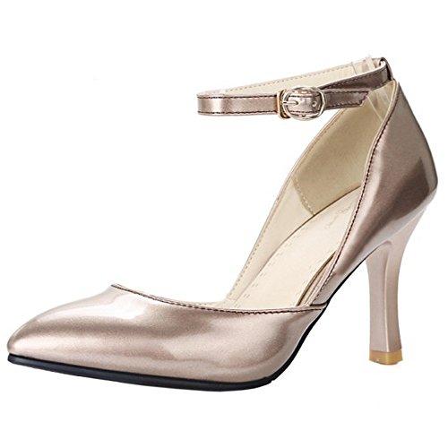 COOLCEPT Mujer Moda Tacon De Aguja Tacon Alto Bombas Zapatos Hebilla Boda Oro Oro