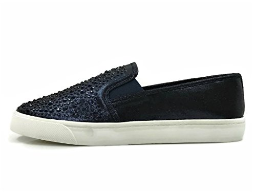 Soda Womens Slip On Sneakers - Closed Toe Blue Crystal