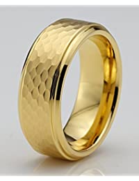 Tungsten Wedding Band Ring 8mm for Men Women Comfort Fit 18k Yellow Gold Hammerd Brushed Lifetime Guarantee