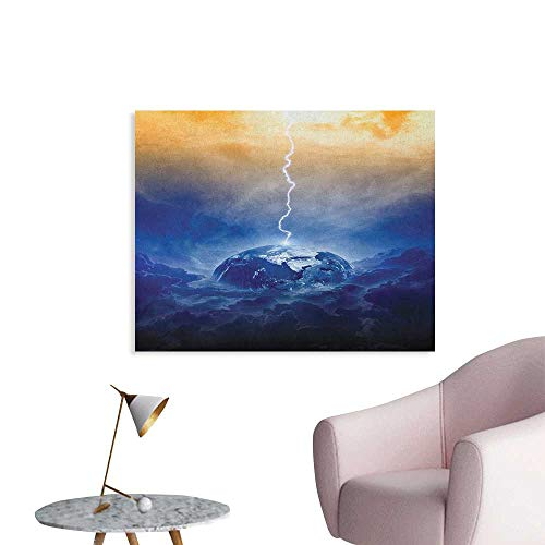 Anzhutwelve Nature Photographic Wallpaper Big Bolt Hits Planet Earth Dramatic Sky Energy Illumination Atmosphere Art Print Custom Poster Yellow Blue W32 xL24 ()