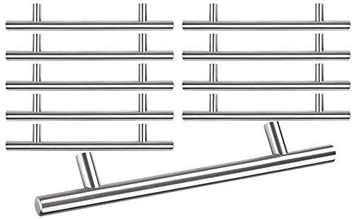 "(LeeMas Inc 8"" 10pcs Stainless Steel Cabinet Bar Pull Handle Hardware Modern European Style T Bar w/Mounting Screws for Home Kitchen Cupboard Drawer)"