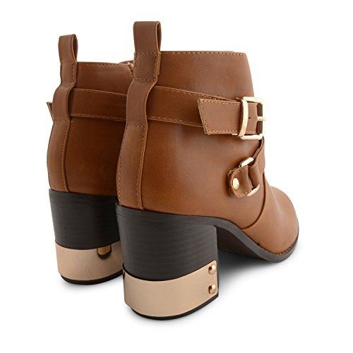 NUEVO MUJER Dolcis Alto Bloque Talón Oro Detalle Chelsea Botines UK para mujer niñas Biker invierno Celebrity hebilla zapatos Negro - canela