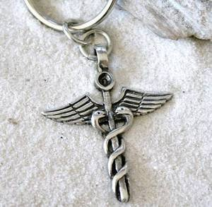 abd3369f6 Image Unavailable. Image not available for. Color: CADUCEUS MEDICAL NURSE DOCTOR  KEYCHAIN Key Ring