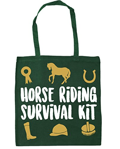 HippoWarehouse equitación Kit de supervivencia bolsa de la compra bolsa de playa 42cm x38cm, 10litros verde oscuro