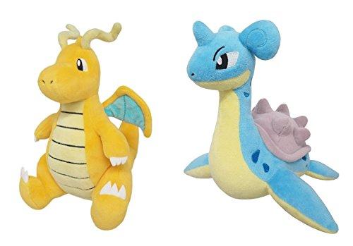 Sanei Set of 2 Pokemon Stuffed Plushes - PP39 Dragonite & PP82 Lapras