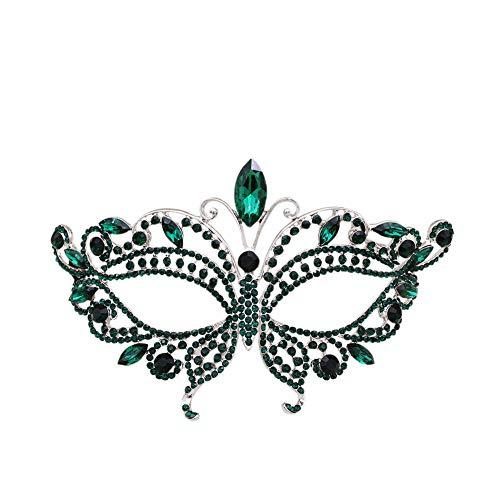 Miallo Bridal Butterfly Rhinestone Crystal Fancy Masquerade Eye Mask for Halloween (Green)… ()
