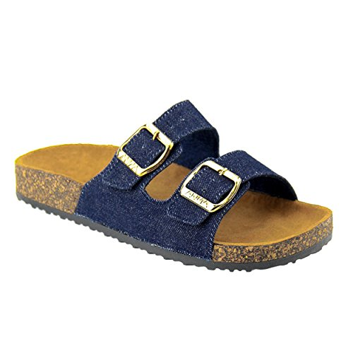 Women's Casual Buckle Double Strap Platform Footbed Flat (Double Strap Gladiator Sandal)