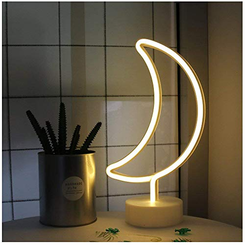 - Moon Shape led neon Night Light with Base Marquee Sign lamp Decorative neon Light for Home Decoration Best Gift Choice