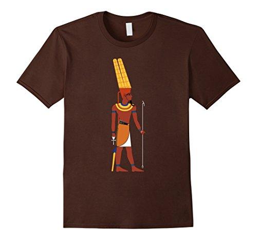 Men's Egypt T-Shirt, Egyptian God Amun King Deity Sceptre Tshirt 2XL Brown (Major Egyptian Gods)