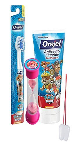 "Paw Patrol ""Skye"" Inspired 3pc Bright Smile Oral Hygiene Set! Toothbrush, Fluoride Toothpaste & Brusing Timer! Plus Bonus ""Remember To Brush"" Visual Aid"