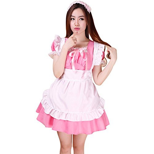 LPATTERN Women's Adult Anime Cosplay French Maid Apron Fancy Dress Costume, Pink, M ()