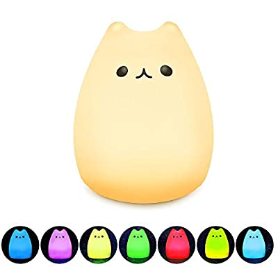 Mystery Remote Control LED Cartoon Kitty Night Light, 7-Modes Rechargeable Animal Cat Nursery Lamp, Nightlight with Tap Control for Toddler Kids Boys Girls Birthday Gifts