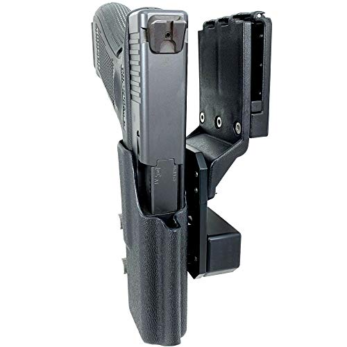 Professional Competition Holster OWB Kydex fits Glock 17; IPSC, USPSA, 3-Gun Approved, Adjustable in All Angles and Retention, Completely Legal in USPSA Production Division - Black