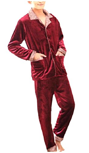 Striped Pajama Flannel Pants (Unastar Men Warm Fall Winter Flannel with Pockets Pajama/Sleepwear Set Wine Red L)