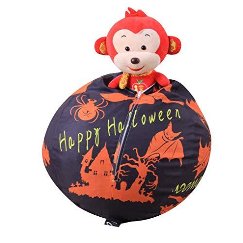 Creazy Toy Storage, Halloween Pumpkin Kids Stuffed Animal Toy Storage Bean Bag Soft Stripe Chair (Black)