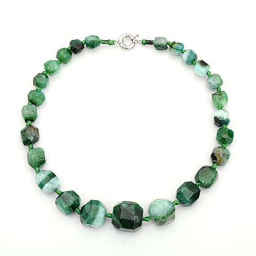 MissDaisy Handmade Natural Stone Big Beads Necklace Agate Choker for women (Green) (Green Agate Stone)
