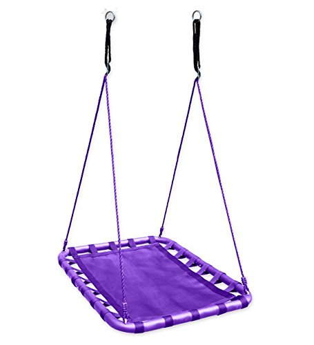 Deluxe Water Hammock (Mega Mat Rectangular Outdoor Platform Tree Swing for Yard or Playground Sturdy Steel Frame Durable Mat Bottom 30 W x 40 L with Two 63'' Ropes 250 LB Weight Capacity for Multiple Children… - Purple)