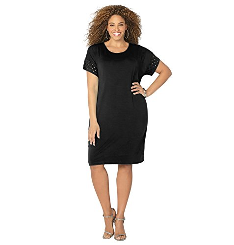 AVENUE Women's Eyelet Sleeve T-Shirt Dress, 14/16 Black
