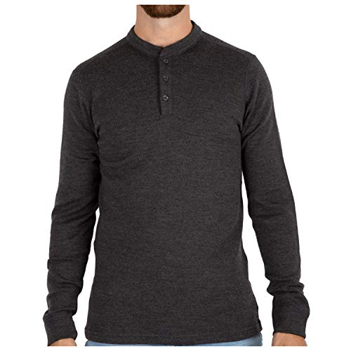 Wool Heavyweight Thermal Henley Pullover Top - Medium ()