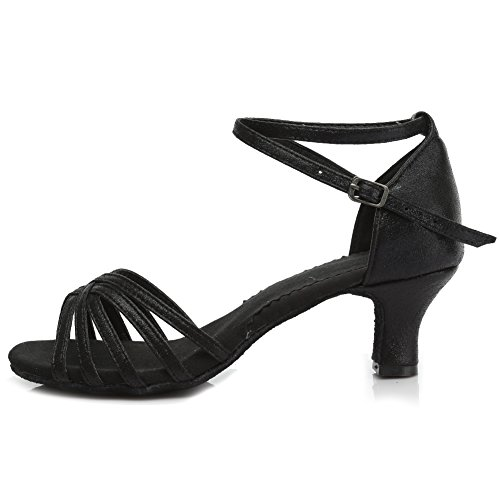 Roymall Womens Leather Latin Dance Shoes Ballroom Salsa Tango Performance Shoes,Model MF1810-6 5cm Black