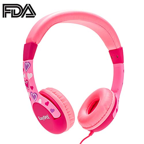 JIEDING Kids Headphones,3.5mm Jack 85dB Volume Limited Stereo Wired Children's Headphones Over Ear Headsets(Pink) -