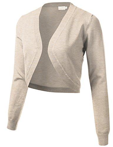 FLORIA Womens Cropped Open Front Bolero Shrug Long Sleeve Knit Cardigan Khaki S (Nylon Bolero)