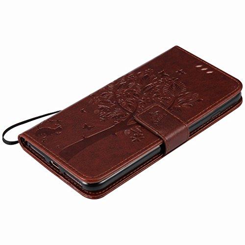 Custodia Apple IPhone 7 Plus Cover Case, Ougger Alberi Gatto Printing Portafoglio PU Pelle Magnetico Stand Morbido Silicone Flip Bumper Protettivo Gomma Shell Borsa Custodie con Slot per Schede (Marro