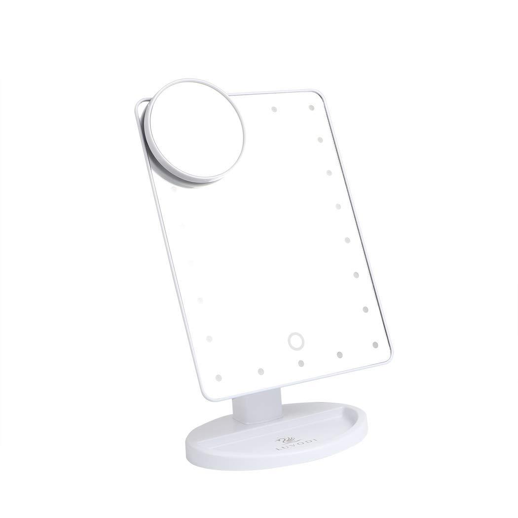 LUVODI Miroir Maquillage lumineux Écran tactile 22 LEDs Lumière Réglable Makeup Miroir sur Pied Grossissant X 10 avec Rotation 180 Degrés pour Cosmétique et Soin de Peau Noir