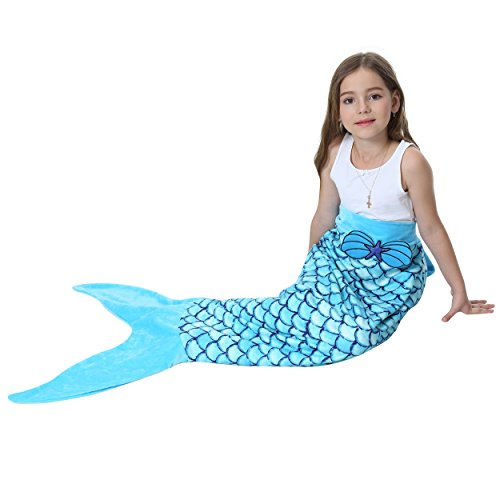 Camlinbo Mermaid Tail Blanket for Girls Flannel Soft Warm All Seasons Sleeping Bags Best Great Gift for Friends Family Apply to Bedroom Sofa Beach Outdoor (B-Blue)