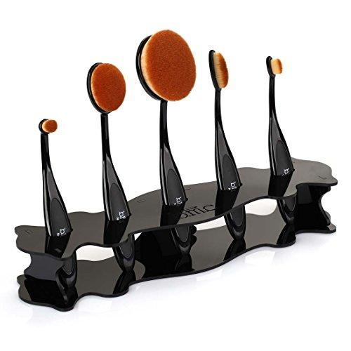 BMC Black Acrylic 5 Slot Luminous Perfecting Curve Makeup Brush Holder Stand