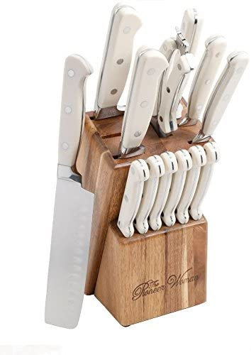 The Pioneer Woman Cowboy Rustic 14-Piece Linen Cutlery Set W/ Wood Block/WHITE