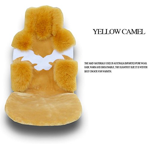 YAOHAOHAO Universal Full Set Deluxe sheep of the skin of the car seat cover wool, m yellow by YAOHAOHAO (Image #2)