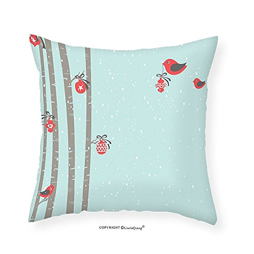 VROSELV Custom Cotton Linen Pillowcase Christmas Decorations Collection Cute Red Birds Decorating Tree Snowy New Year Inspiration Soft Color Illustration Bedroom Living Room Dorm Blue Red - New Boyfriend Gomez Selena