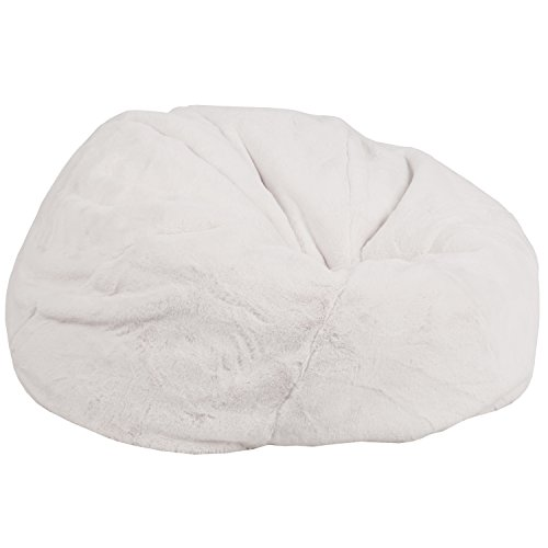 Flash Furniture Oversized White Furry Kids Bean Bag Chair