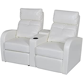 VidaXL White Artificial Leather 2 Seat Home Theater Recliner Sofa Lounge W/  Cup Holder