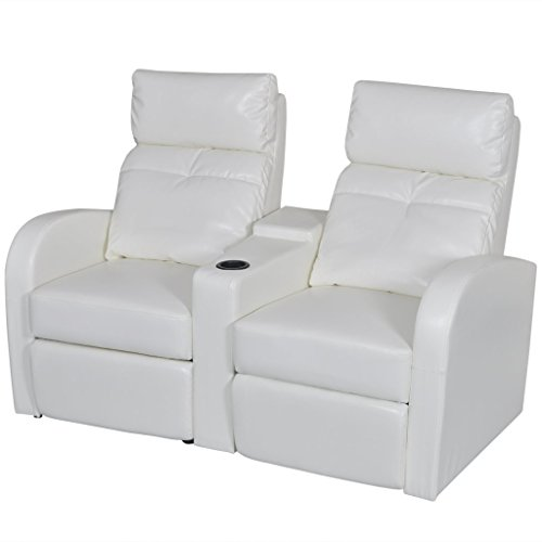 vidaXL White Artificial Leather 2-Seat Home Theater Recliner Sofa Lounge w/ Cup Holder Review