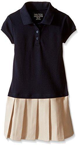 Nautica Little Girls' Uniform Pique Polo Pleated Dress, Navy, 4