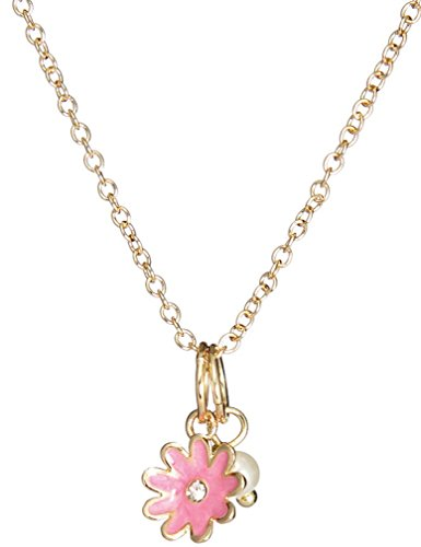 reasures Enamel Collection Dew Drop Daisy Crystal Accent Necklace, Pink (14k Gold Flower Necklace)