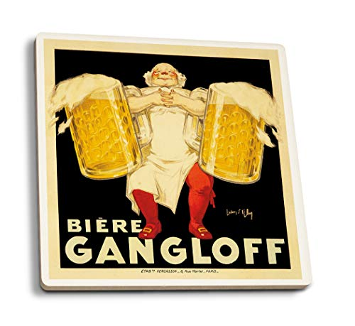 - Biere Gangloff Vintage Poster (Artist: Ylen, Jean D') France c. 1930 (Set of 4 Ceramic Coasters - Cork-Backed, Absorbent)