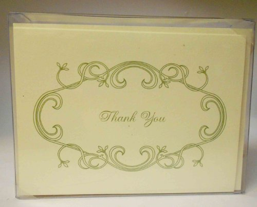 (William Arthur Collection Box 10 Thank You Cards - White with Envelopes 3.75x5