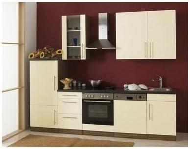 Mebasa MCUKB28NV cocina, moderna cocina, cocina de 280 cm brillante, cocina incluye empotrables - frigorífico empotrable a