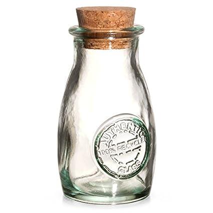 Auténtico cristal reciclado especia botella con tapa de corcho 3,5 oz/100 ml