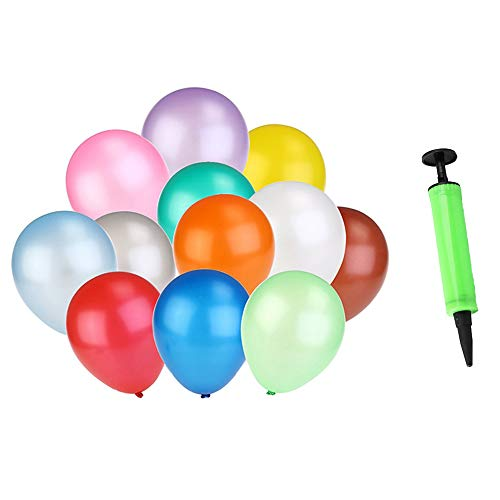 Auony 100 Pack Party Balloons, 10 inch Assorted Color Latex Balloons with 1 Pack Balloons Bump for Wedding Party Decoration ()