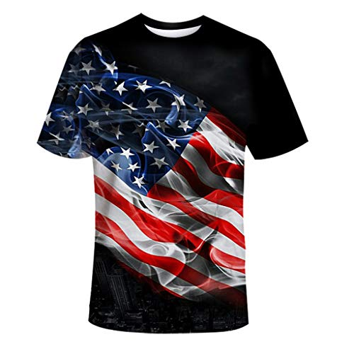 Cardigo Independence Day US Flag Mens Printing Tees Shirt Short Sleeve Top Blouse