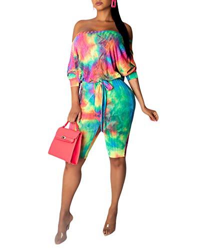 (Ophestin Women Off Shoulder 3/4 Sleeve Rainbow Tie Dye Print Belt Bodycon Capri Short Pants Jumpsuits Rompers Orange S)